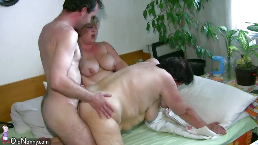 OldNanny Old Grannie and BBW Mature playing with a man